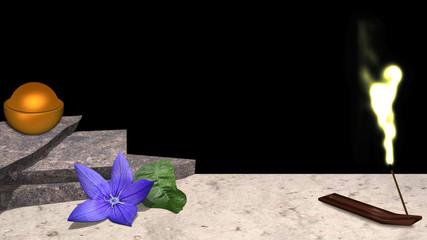 lila Blüte mit Orangenblatt, Steinplatten auf denen eine Schüssel mit goldener Kugel steht und ein Räucherstäbchen mit golden leuchtendem Rauch vor schwarzem Hintergrund. 3d render