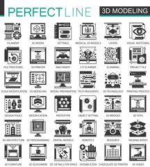 3d modelling and printing black mini concept symbols. Modern vector icon pictogram vector illustrations set.