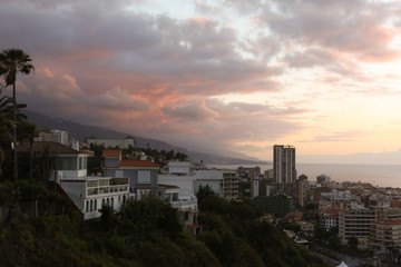 Colorful sky at dusk over Tenerife