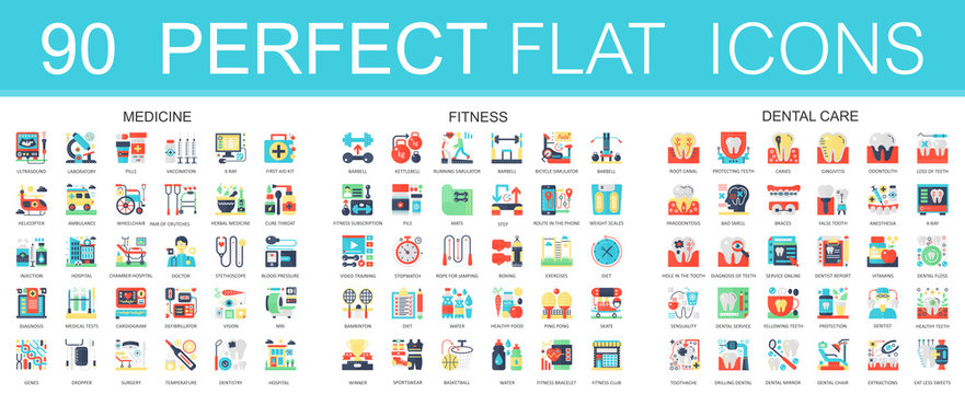 180 vector complex flat icons concept symbols of medicine, sport fitness, dental care. Web infographic icon design.