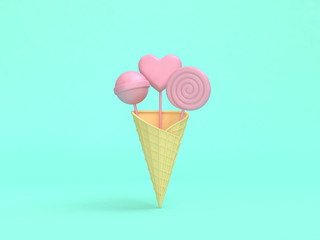 abstract pink ice cream candy minimal green background 3d rendering