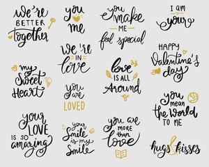 love lettering set. Hand written  style