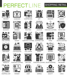 Shopping, retail and commerce black mini concept icons and infographic symbols set.