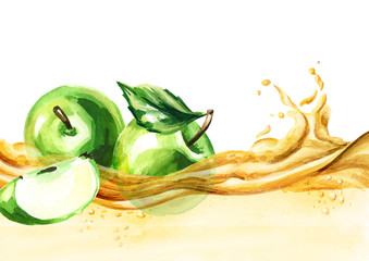Green apples on a wave of juice, watercolor hand drawn illustration