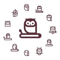 Owl  vector icon collection.