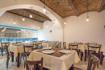 Restaurant interior in a new hotel