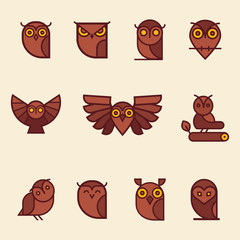 Owl Color Vector illustration collection. Unique illustration for design.