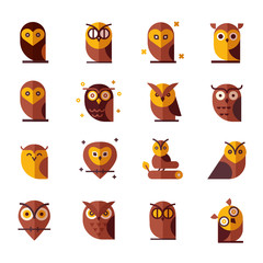 Owl Color Vector illustration collection. Unique illustration for design.