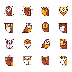 Owl outline icons collection. Set of outline owls and emblems design elements for schools, educational signs. Unique illustration for design.