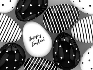 3d rendering of Easter eggs on gray background