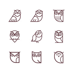 Owl outline icons collection. Set of outline owls and emblems design elements for schools, educational signs. Unique illustration for design.