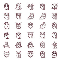 Wall Murals Owls cartoon Owl outline icons collection. Set of outline owls and emblems design elements for schools, educational signs. Unique illustration for design.