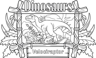 carnivorous velociraptor, coloring book
