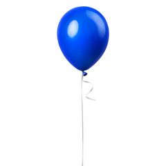 Blue balloon isolated on a white background. Party decoration for celebrations and birthday