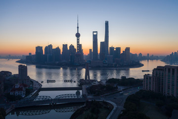 Shanghai Skyline in the Morning. Lujiazui Financial District and Huangpu River. Aerial View.