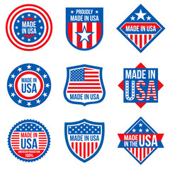 Made in the usa vector labels. American manufacturing stickers