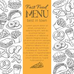 hand drawn fast food