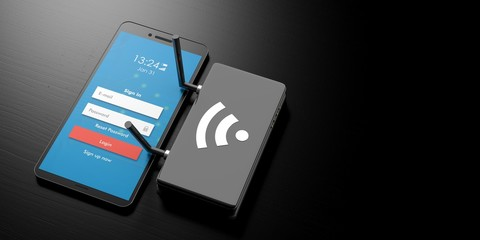 Login with wifi on a smartphone screen and router on black background, banner, copy space. 3d illustration