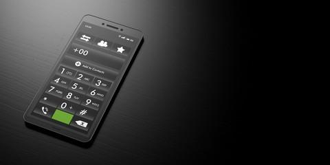 Smart phone number keypad on a black background, banner, copy space. 3d illustration