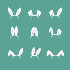 Easter bunny cartoon ears, celebration mask isolated vector set