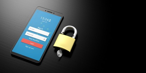 Smartphone protection. Login with wifi on a smart phone screen and padlock on black background, banner, copy space. 3d illustration