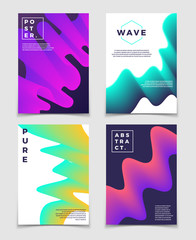 Colorful twisted shapes. Minimal modern vector cover design