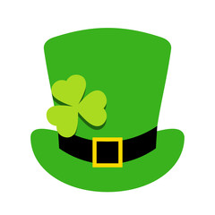 Leprechaun hat with shamrock leaf vector icon