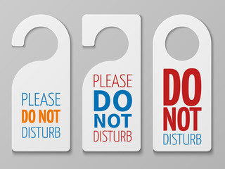 Do not disturb room vector signs. Hotel door hangers collection
