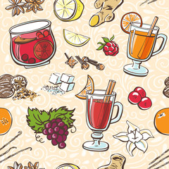 Vector seamless pattern Hot Christmas beverages. Hand drawn doodle objects of glass with grog, mulled wine and fruit punch with ingredients on beige background with neutral white swirls.