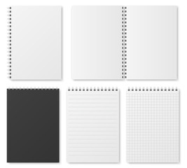 Blank open and closed realistic notebook, organizer and diary vector template isolated