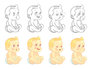Emotional cute baby coloring page with samples isolated on white background