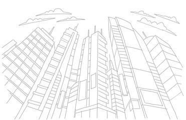Big city skyscraper sketch buildings. Gray line skeleton strokes Modern architecture landscape. Hand drawn vector stock illustration.