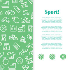 Sports and fitness banner template with line icons