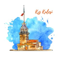 Vector sketchy illustration with a black outline silhouette of the Maiden Tower in Istanbul with isolated bright colorful texture on the background. Hand drawn famous turkish landmark.