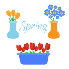 Spring flowers. Cute vector spring flowers icons. Simple flowers vector