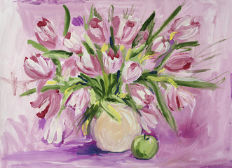 Still life with tulips and apple