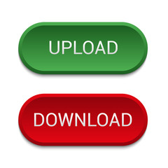 Green upload button, red button download. Web design