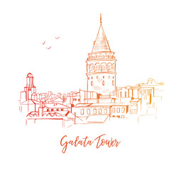 Vector sketchy illustration with a silhouette of Istanbul. Hand drawn famous turkish landmark with red, orange and yellow gradient outline isolated on white background.