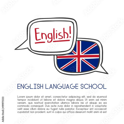 English language school vector illustration  Two hand drawn