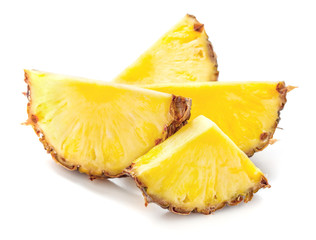 Wall Mural - heap of pineapple slices isolated on white background