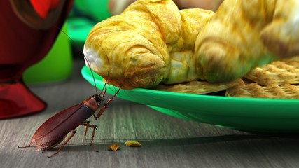 Cockroach nibble Croissant and hiding from human. 3D illustration.