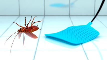 Cockroach blowing in the air by fly swatter in bathroom. 3D illustration.