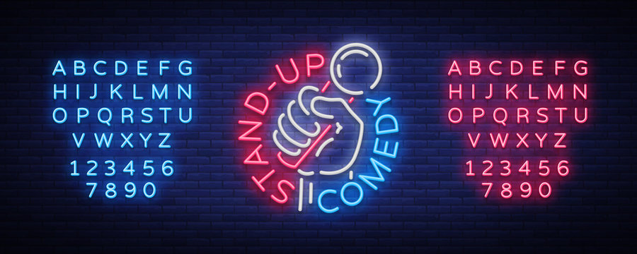 Comedy Show Stand Up invitation is a neon sign. Logo, Emblem Bright flyer, light poster, neon banner, night commercials advertisement, card, postcard. Vector illustration. Editing text neon sign
