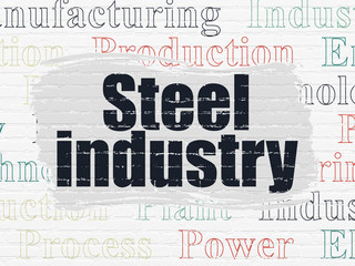 Industry concept: Painted black text Steel Industry on White Brick wall background with  Tag Cloud