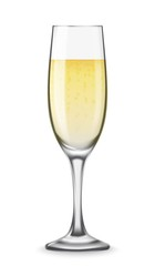 Vector Realistic champagne glasses with white wine isolated on white background. Mockup template blank for product packing advertisement.