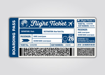 Vector image of airline boarding pass ticket. Vector illustration