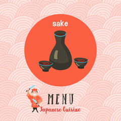 Japanese cuisine. A set of templates of the menu of a Japanese restaurant. traditional Japanese dish. Vector illustration.