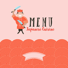 Japanese cuisine. A set of templates of the menu of a Japanese restaurant. Japanese chef. Vector illustration.