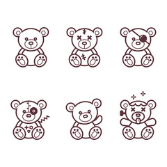 Teddy bear line  vector set
