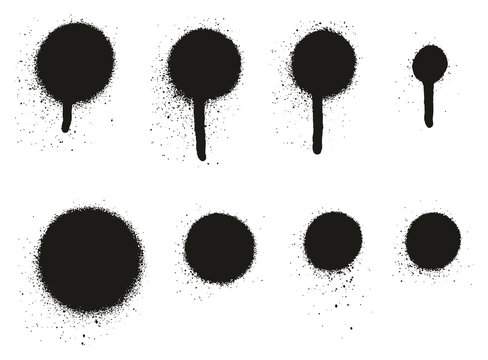 Spray Paint High Detail Drip Dots Abstract Vector Backgrounds Set 09